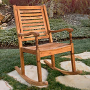 W. Trends Outdoor Acacia Wood Deep Seated Rocking Chair - Brown