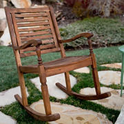 W. Trends Outdoor Acacia Wood Deep Seated Rocking Chair - Dark Brown