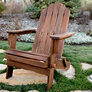 W. Trends Folding Acacia Wood Adirondack Chair - Dark Brown