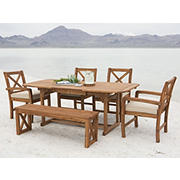 W. Trends 6-pc Outdoor Alder Acacia Wood Dining Set - Brown