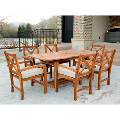 W. Trends Acacia X-Back 7-Pc. Patio Dining Set - Brown