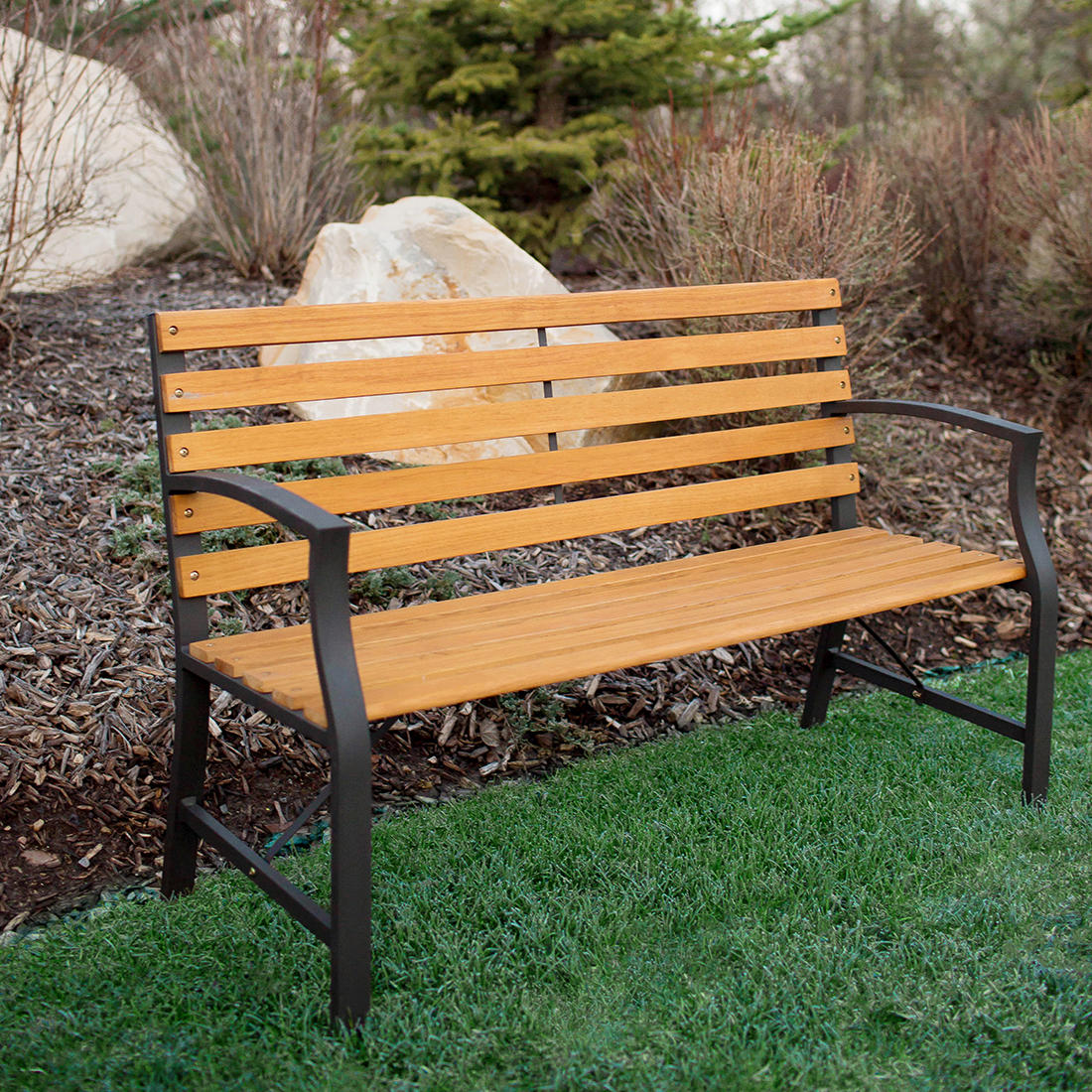 Fabulous W Trends Steel Outdoor Park Bench Black Creativecarmelina Interior Chair Design Creativecarmelinacom