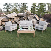 W. Trends 4-Pc. Eucalyptus and Rattan Deep-Seating Set - Beige