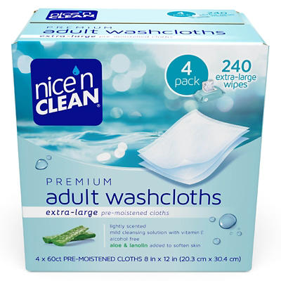 Nice 'n Clean Premium Adult Pre-Moistened Washcloths, 4 pk./60 ct.