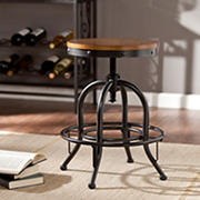 SEI Prax Industrial Adjustable-Height Stool - Dark Pine/Black