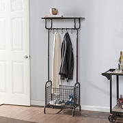 SEI Wren Metal Entryway Storage Rack - Rustic Brown