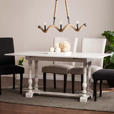 SEI Candace Folding Trestle Table - Distressed White