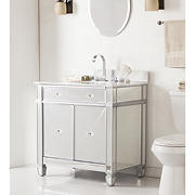 SEI Kendle Single-Sink Bathroom Vanity - Matte Silver/Gray-Grained White Marble