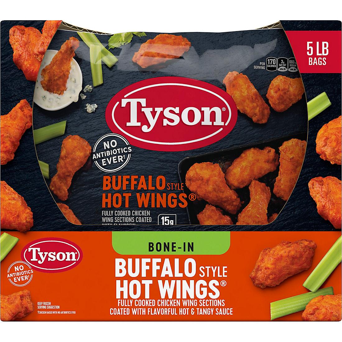 Tyson Frozen Buffalo Style Hot Chicken Wings, 5 lbs