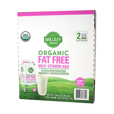 Wellsley Farms Organic Fat-Free Milk, 2 pk./64 fl. oz.