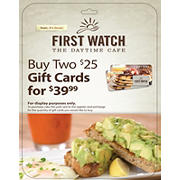 $25 First Watch Gift Card, 2 pk.