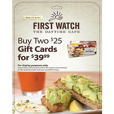 $25 First Watch Gift Card, 2 pk.