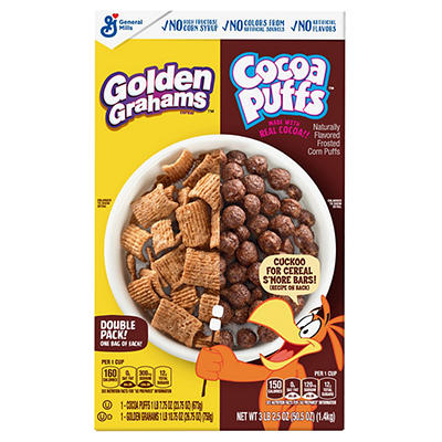 General Mills Golden Grahams and Cocoa Puffs Cereal Variety Pack, 50.5