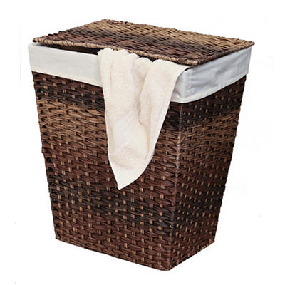 Seville Classics Handwoven Laundry Hamper with Cotton Liner