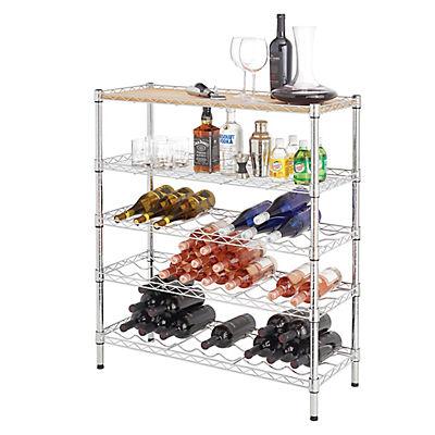 Home Storage Space 5-Tier Wine Rack - Chrome