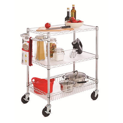 Home Storage Space 3-Tier Rolling Cart - Chrome