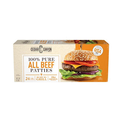 Cedar Canyon Meats All Beef Patties, 24 ct./4 oz.
