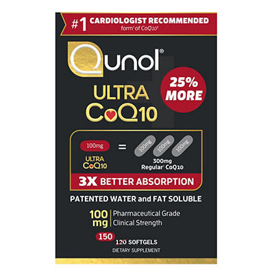 Qunol Ultra Coenzyme Q10 (CoQ10) 100mg Softgels, 150 ct.