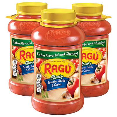 Ragu Chunky Garden Tomato, Garlic and Onion Sauce, 3 ct./45 oz.