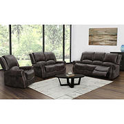 Abbyson Living Browning 3-Pc. Reclining Set with White Glove Delivery - Dark Brown
