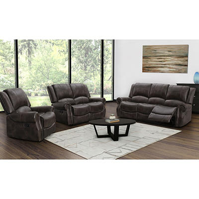 Abbyson Living Davidson 3-Pc. Reclining Set - Dark Brown