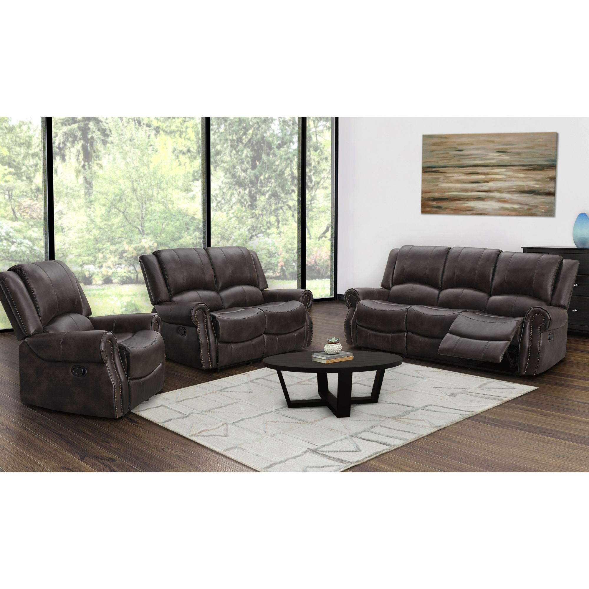 abbyson living davidson 3 pc reclining set dark brown bjs rh bjs com