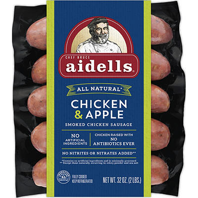 Aidells Smoked Organic Chicken Sausage, Chicken & Apple, 10 ct./3.2 oz