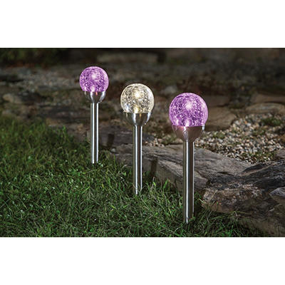 Berkley Jensen 2.4-Lumen Crackled Globe Pathlights, 8 pk. - Assorted