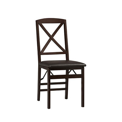 "Linon Triena 18"" X-Back Folding Chairs, 2 pk. - Espresso"