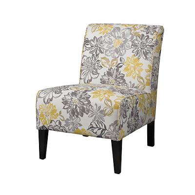 Linon Lily Bridey Fabric Armless Chair - Floral/Black