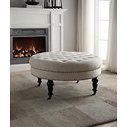 "Linon Isabelle 35"" Round Linen Tufted Ottoman - Natural"