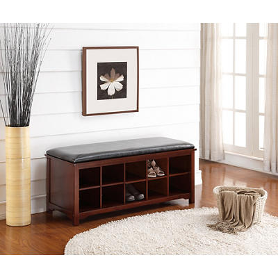 Linon Cape Anne Bench - Dark Walnut