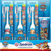 Arm & Hammer Kid's Spinbrush Paw Patrol Electric Toothbrush, 3 pk., with Orajel Anticavity Fluoride Toothpaste, 4.2 oz.