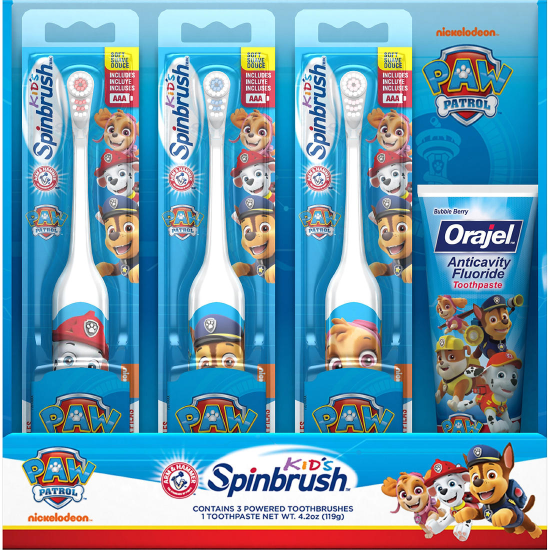 Arm & Hammer Kid's Spinbrush Paw Patrol Electric Toothbrush, 3 pk , with  Orajel Anticavity Fluoride Toothpaste, 4 2 oz