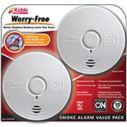 Kidde Worry-Free Smoke Alarms, 2 pk. - White