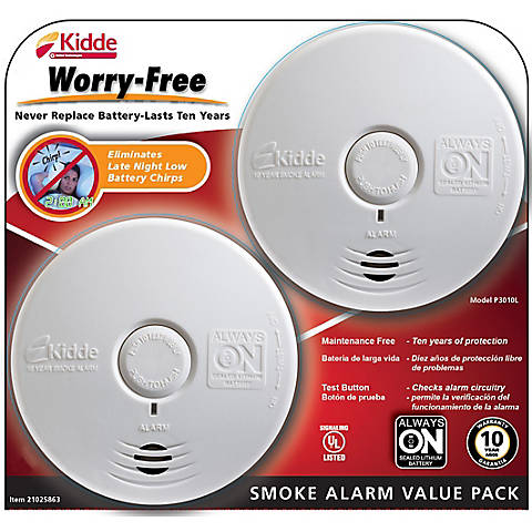 Kidde Worry Free Smoke Alarms 2 Pk White Bjs Wholesale Club