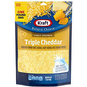 Kraft Natural Cheese Finely Shredded Triple Cheddar Cheese, 16 oz.