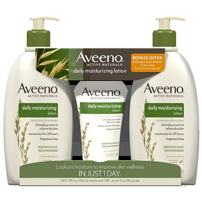 Aveeno Daily Fragrance Free Moisturizing Body Lotion, 2 pk./18 fl. oz.