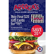 $25 Arooga's Grille House & Sports Bar Gift Card, 4 pk.