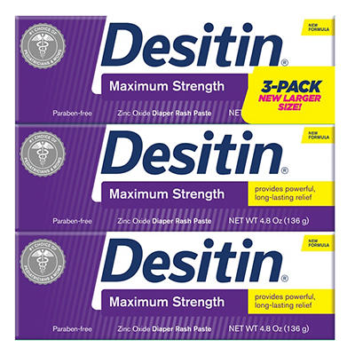 Desitin Baby Diaper Rash Maximum Strength Original Paste, 3 pk./4.8 oz