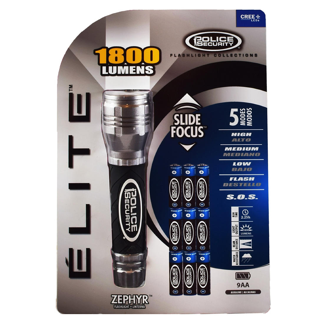 Police Security Elite 1,800-Lumen Ultra Bright Flashlight