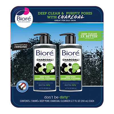 Biore Deep Pore Charcoal Cleanser, 2 pk./6.77 fl. oz.