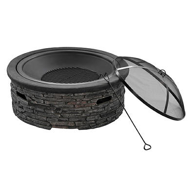 "Berkley Jensen 29.5"" Wood-Burning Fire Pit - Black/Gray"