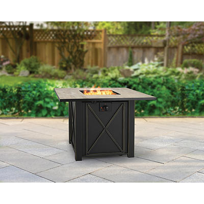 "Berkley Jensen 35"" Square Stone Gas Fire Pit - Brown/Beige"