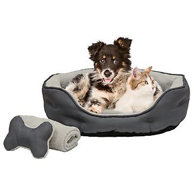 "Berkley Jensen 20"" x 23"" Cuddler Pet Bed with Bonus Blanket and Toy -"