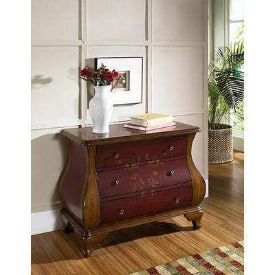 Hampton Point Louise Hand-Painted Bombe Chest - Red/Brown