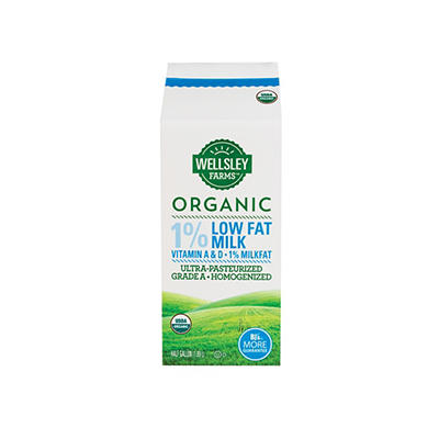 Wellsley Farms Organic 1% Milk, 2 pk./64 fl. oz.