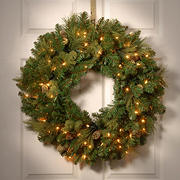"National Tree 30"" Pre-Lit Carolina Pine Wreath with 14 Flocked Cones - Clear"
