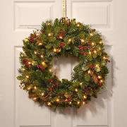 "National Tree 24"" Pre-Lit Classical Collection Wreath with Red Berries, Cones and Holly Leaves - Clear"