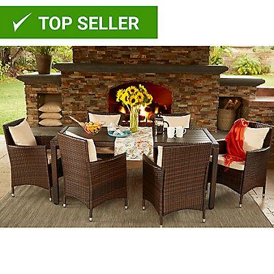 Handy Living Aldrich 7-Pc. Outdoor Dining Set - Beige/Brown